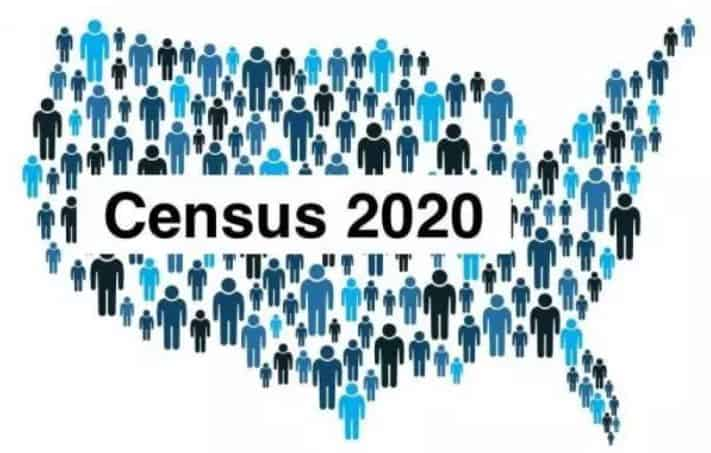 graphic of United States made up of people to illustrate the 2020 Census