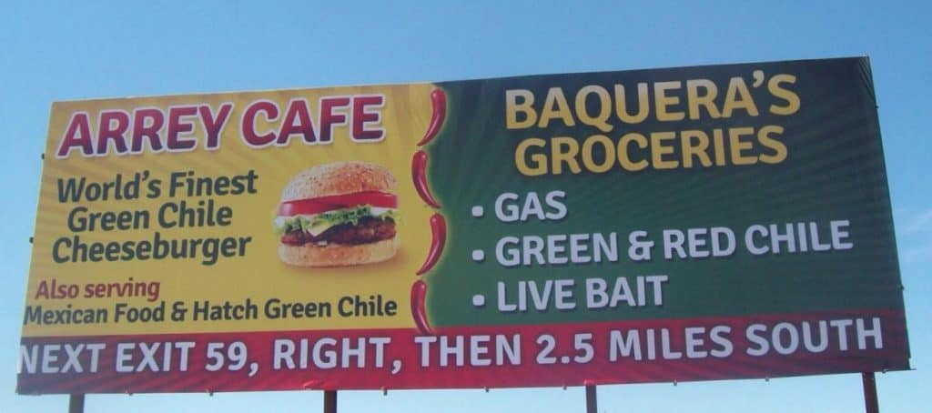 Billboard advertising Arrey Cafe and Baquera's Grocery, two county business that qualified for CARES grants