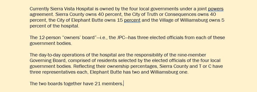 sidebar on hospitals current governance and ownership structure