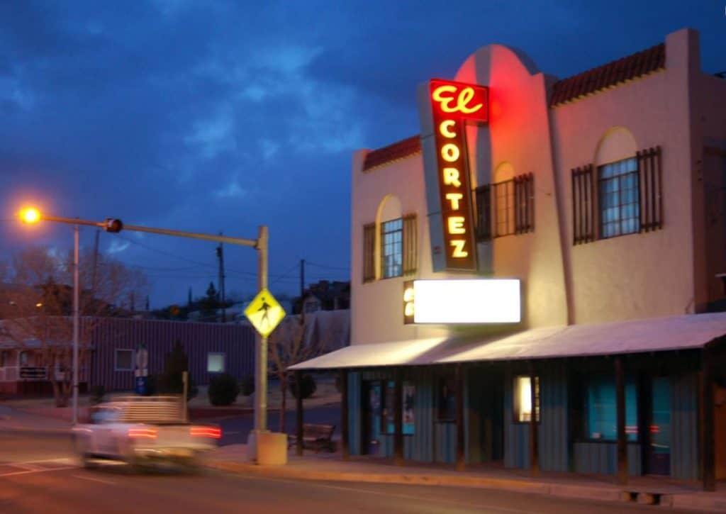 Exterior of El Cortez Theater at night