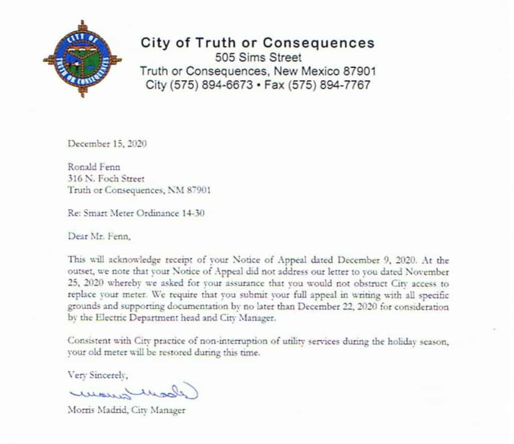 form letter outlining appeal procedures signed by Madrid and handed to Fenn on Dec. 16