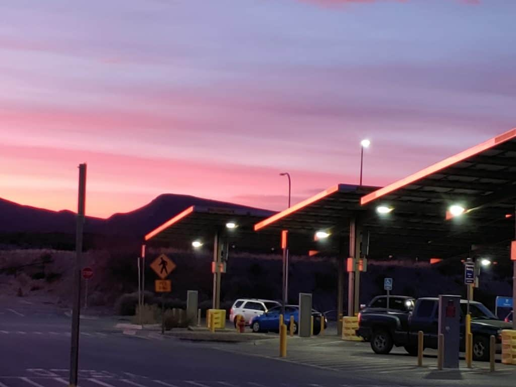 Walmart in Truth or Consequences at sunset