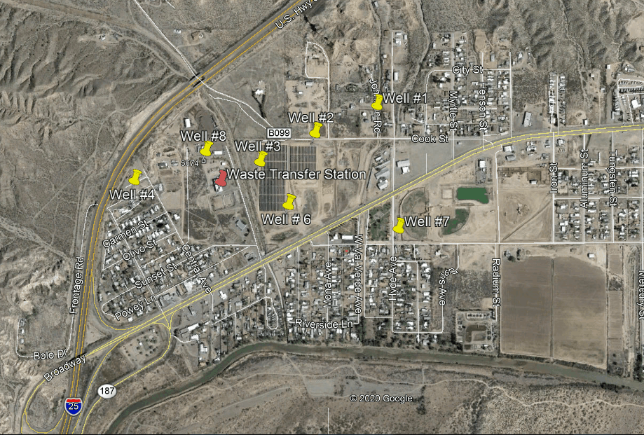 Location of south-side T or C wells and waste transfer station