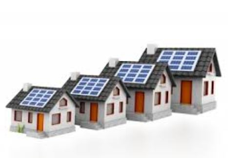 illustration of homes with solar panels