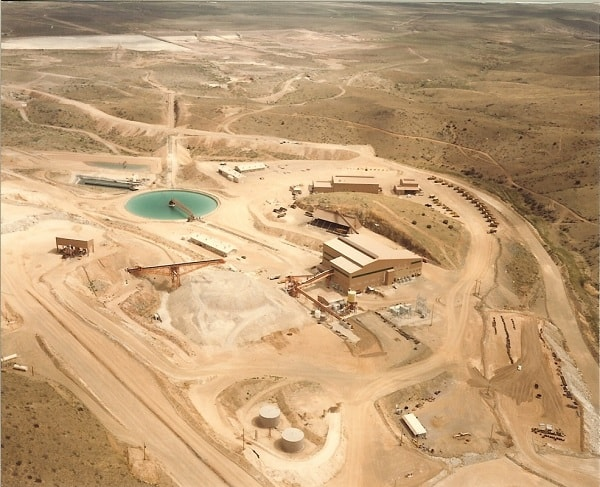 Aerial view of Copper Flat Mine circa 1982