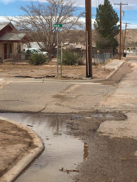 runoff from Veater Street water-main break pooling at Hyde Street