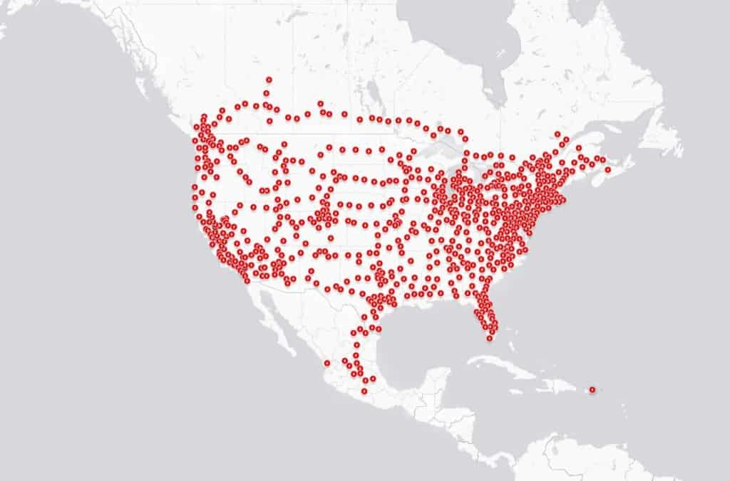 Tesla's Supercharger network map