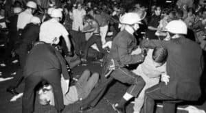 The Chicago police violently subdue demonstrations at the 1968 Democratic convention.