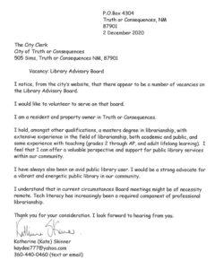Skinner's letter of application
