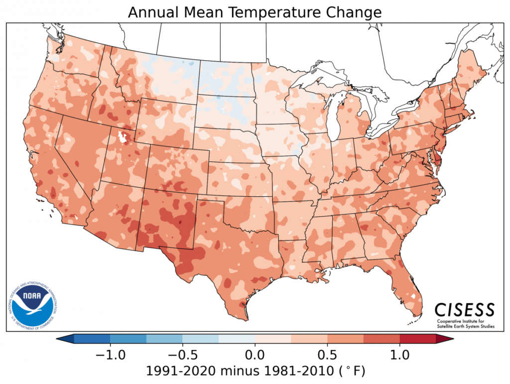 U.S. Map of Annual Mean Temp Change in Normals