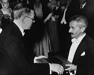 Novelist William Faulkner accepting the Nobel Prise