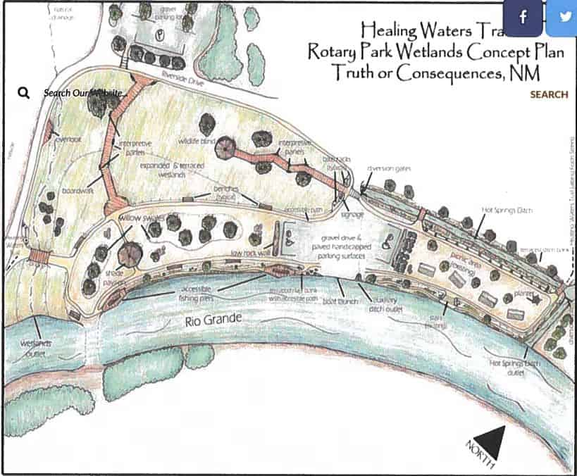 Conceptual plan for wetlands restoration at Rotary Park