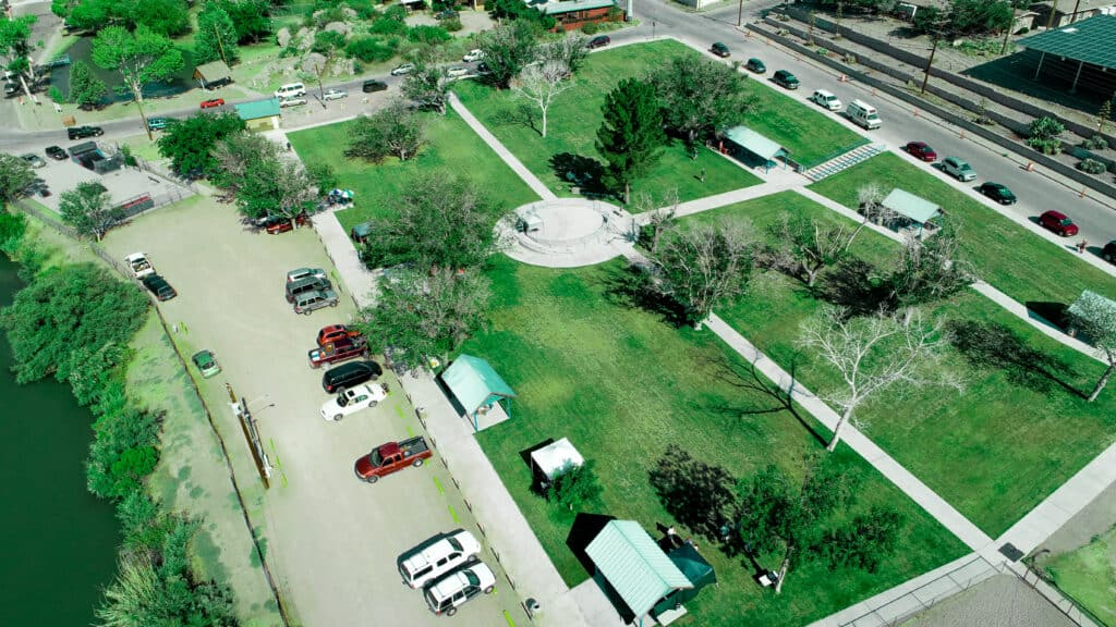 Aerial view of the market at Ralph Ediwards Park
