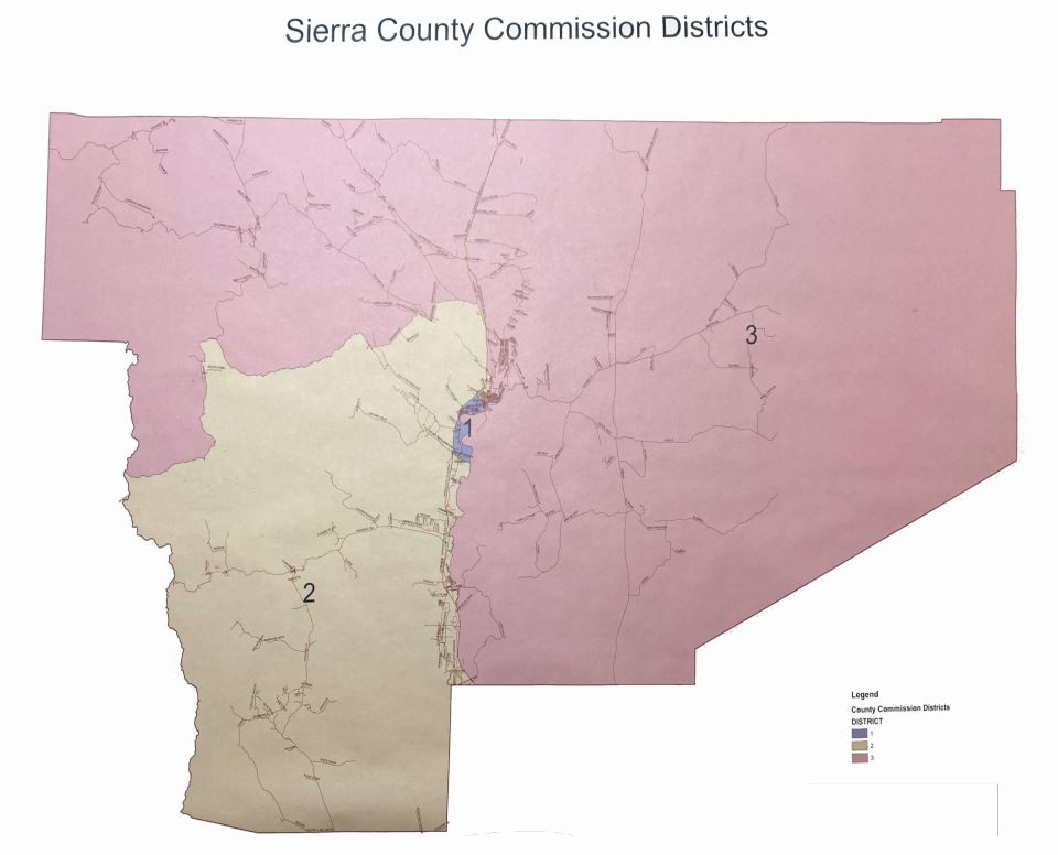 Sierra County Commission district map